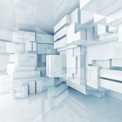 Картина 3D синий высокотехнологичных фон с хаотическими кубов