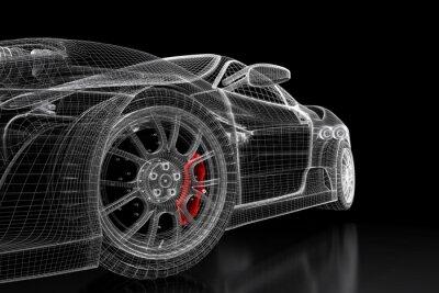 Картина 3D автомобиль сетки на черном
