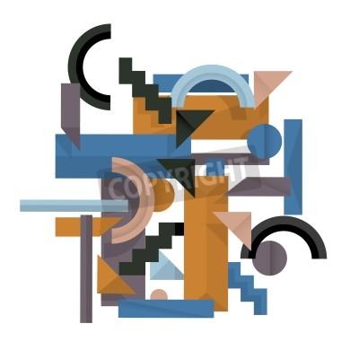 Картина 3d геометрических фон в стиле кубизма