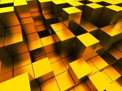 Картина 3d иллюстрации золотых кубов