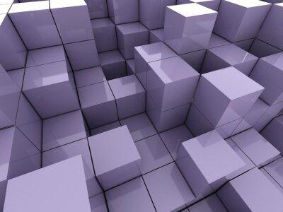 Картина 3D иллюстрации фиолетовых кубов
