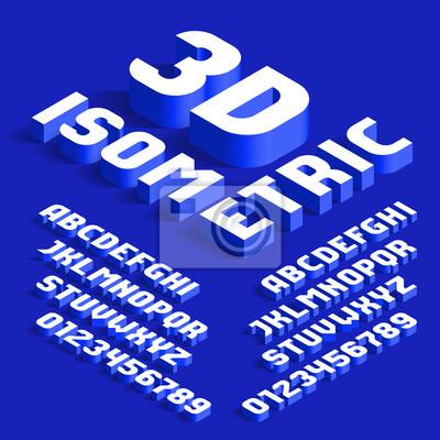 3D Изометрические алфавит шрифт. 3d эффект буквы и цифры с тенями. Фондовый вектор машинопись для вашего дизайна типографии.