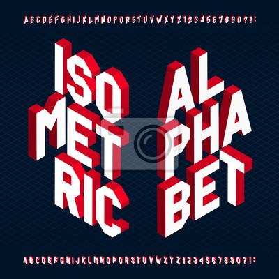 3D изометрической алфавит векторный шрифт. Буквы и цифры. Трехмерный Векторный типографика для вашего дизайна.