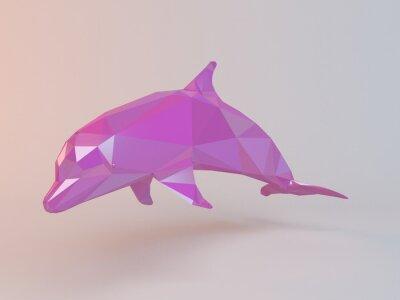 Картина 3D-розовый с низким поли (дельфин) внутри белой стадии с высоким качеством визуализации, которые будут использоваться в качестве логотипа, медали, символ, форма, эмблема, значок, детская история, или