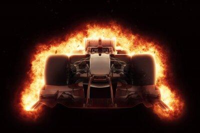 Картина 3D гоночный автомобиль с огненным эффектом взрыва
