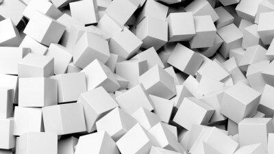 Картина 3D белых кубов кучи абстрактного фона
