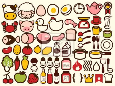 50 + Еда и напитки Иконка - векторный файл EPS10