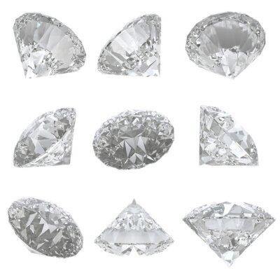 Картина 9 бриллиантов на белом фоне - путем отсечения