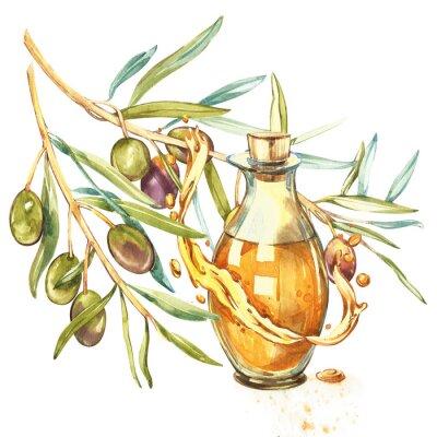 Картина Ветвь зрелых зеленых оливок сочная заливается маслом. Капли и брызги оливкового масла. Акварель и ботанические иллюстрации, изолированных на белом фоне.