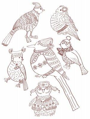 Коллекция милый ручной обращается болваны птиц