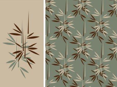 Картина Японский стиль бамбук бесшовные плитки и ее обособленное узор в винтажном зеленого и коричневого цвета палитры