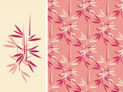 Картина Японский стиль бамбук бесшовные плитки и ее изолированные картины в старинных розового и красного цвета палитры