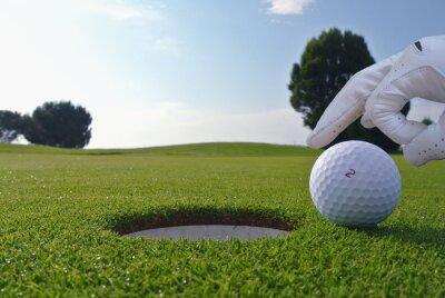 Картина человек, который толкать мяч в гольф отверстие