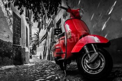 Картина Красный скутер vespa, припаркованный на асфальтированной улице