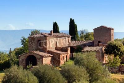 Картина Резиденция в Тоскане, Италия. Типичный для региона тосканский дом фермы, холмы, кипарисы. Италия