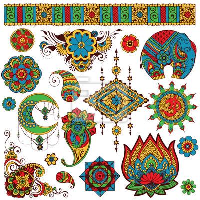 Набор индийских символов для дизайна окрашены в стиле mihendi