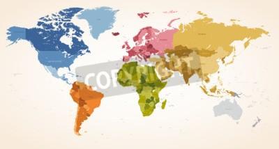 Картина Винтаж цвета Высокий вектор Подробные векторные карты всей карты мира.