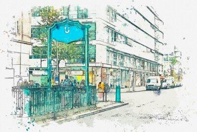 Картина Акварельный эскиз или иллюстрация. Берлин. Знак входа в метро. Метро.