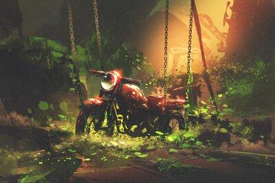 Картина Заброшенный ржавый мотоцикл в заросшей растительности, стиль цифрового искусства, рисование иллюстраций