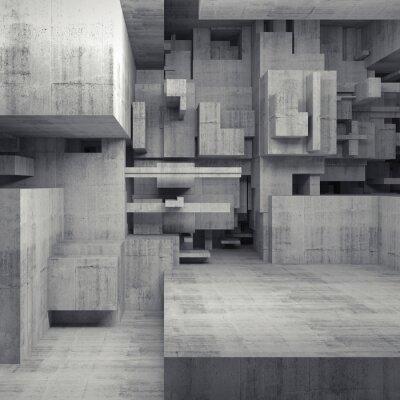 Картина Абстрактный 3d бетон интерьер с хаотическими кубиками