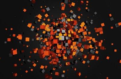 Картина Аннотация рендеринга 3d летающих кубов.
