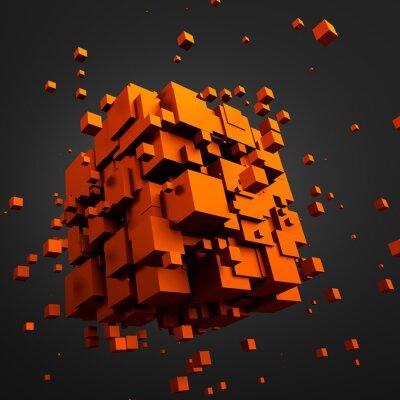 Картина Аннотация 3D рендеринг летающих кубов.