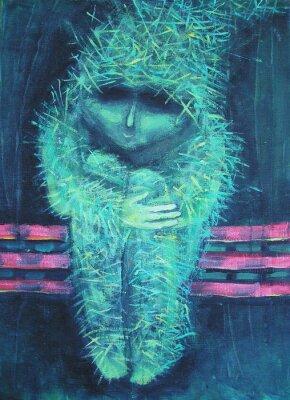 Картина Аннотация акриловой живописи. Одиночество в противном случае зеленый человечек. Декор интерьера.