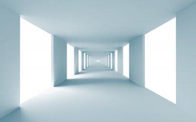 Картина Аннотация архитектура 3d фон, пустой синий коридор