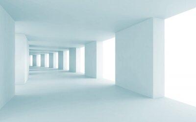 Картина Аннотация архитектуры фон 3d, пустой синий коридор