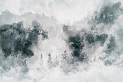 Картина Абстрактная художественная работа, показывающая темный лес с березами. Смешанная среда