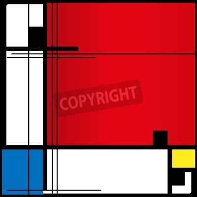 Картина Абстрактный фон в стиле кубизма, красный, синий, желтый квадратов