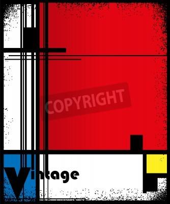 Картина Абстрактный фон в стиле кубизма, красные, синие, желтые квадраты