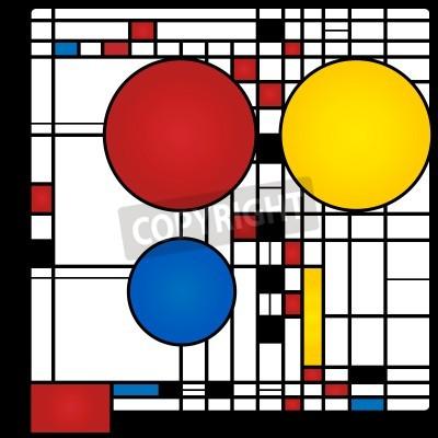 Картина Абстрактный фон в стиле кубизма, красные, синие, желтые квадраты и раундов
