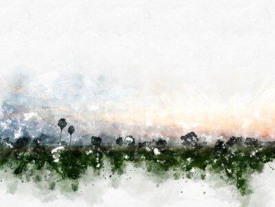 Картина Абстрактный красочный ландшафт поля на предпосылке картины иллюстрации акварели.