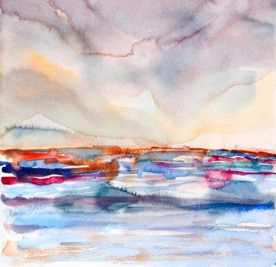 Картина абстрактные красочные пейзаж акварель окрашены