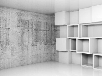 Картина Аннотация пустой интерьер фон с белыми кубиками