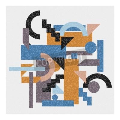 Картина Абстрактный геометрический фон в стиле кубизма.