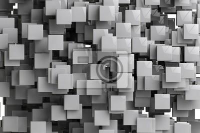 Картина Абстрактный фон геометрических кубов 3D визуализации