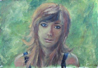 Картина Абстрактный портрет девушки на зеленой масляной живописи на холсте