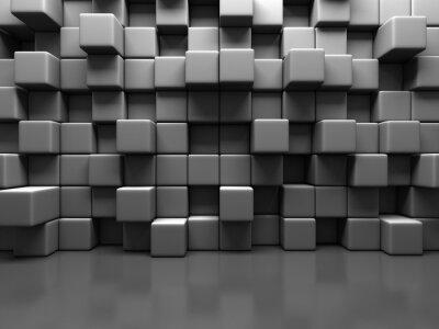 Картина Абстрактный серый куб Блоки фоне стены