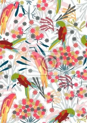 Аннотация ручной рисунок Бесшовные картины с цветами и птицами