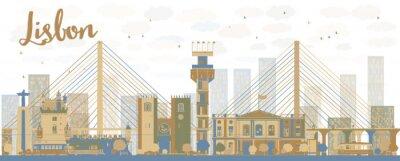 Картина Аннотация Лиссабон горизонты города с коричневыми и синими зданий