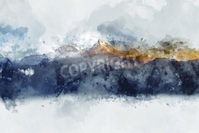Картина Абстрактные горные хребты в утреннем свете, цифровая акварель