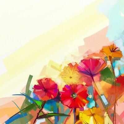 Картина Абстрактная картина маслом из весенних цветов. Натюрморт желтого и красного цветов герберы. Красочные цветы букет с светло-зелено-голубой цвет фона. Ручная роспись цветочные современный стиль импресси