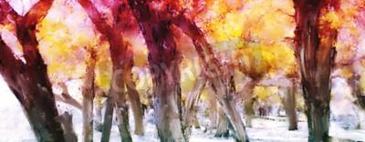 Картина Абстрактная картина красочного леса с желтыми листьями осенью