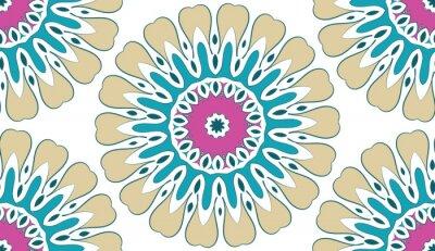 Картина Абстрактный Бесшовные геометрический цветочный узор из точек на белом фоне. Вектор