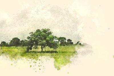 Картина Абстрактный ландшафт дерева и поля на предпосылке картины иллюстрации акварели.