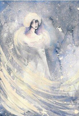 Картина Абстрактные акварель иллюстрации, изображающие портрет женщины-зима