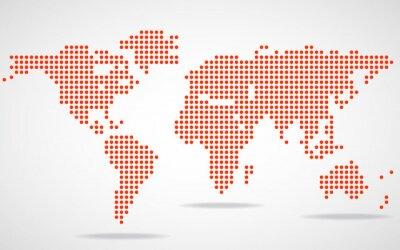 Картина Абстрактный карта мира круглых точек. Векторная иллюстрация. Eps 10