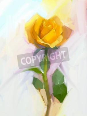 Картина Абстрактный желтый цветок розы с зеленым листом масляной живописи. Ручная роспись цветочным в мягком цвете и размытом стиле фона